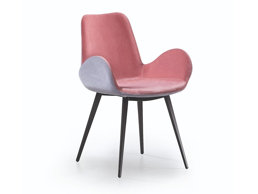 Upholstered fabric chair with armrests DALIA PB Q by Midj