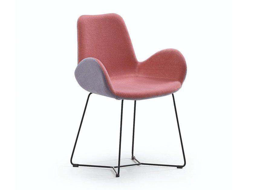 Upholstered fabric chair with armrests DALIA PB T by Midj