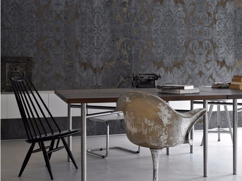 Damask panoramic wallpaper with concrete effect DAMASKED CONCRETE by Inkiostro Bianco