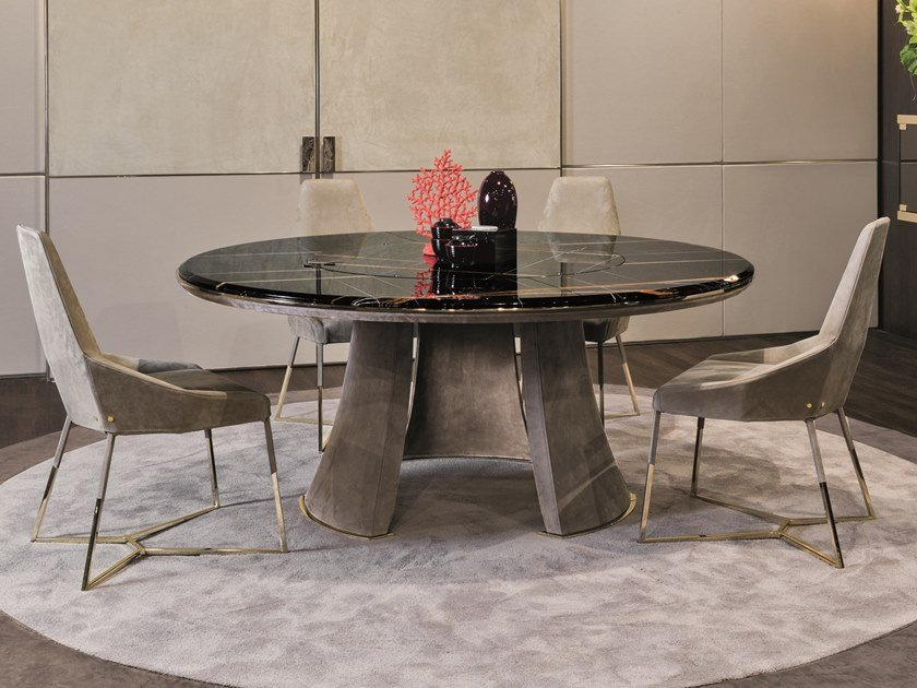 Round table with Lazy Susan DAMIEN | Round table by Longhi