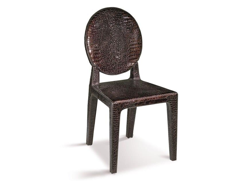 Sedia a medaglione in pelle DAMSEL | Sedia in pelle by Longhi