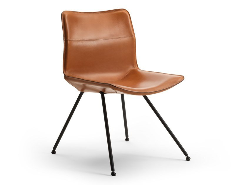 Upholstered tanned leather chair DAN 2059 by Zanotta