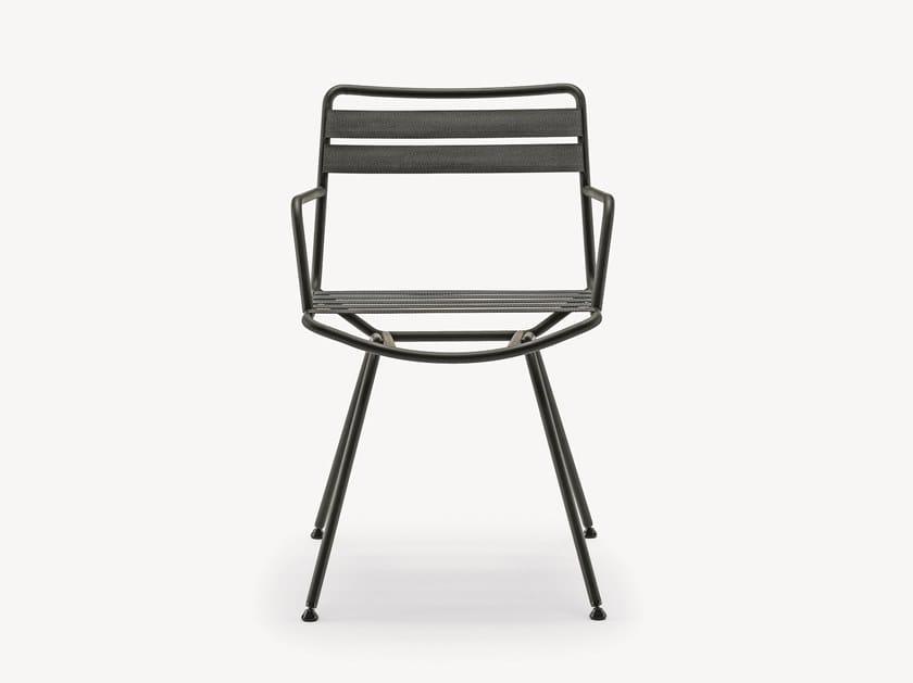 Steel garden chair with armrests DAN Outdoor 2074 by Zanotta