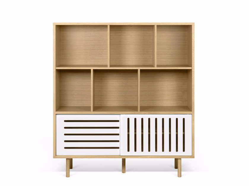 Highboard with sliding doors DANN STRIPES | Highboard by TemaHome
