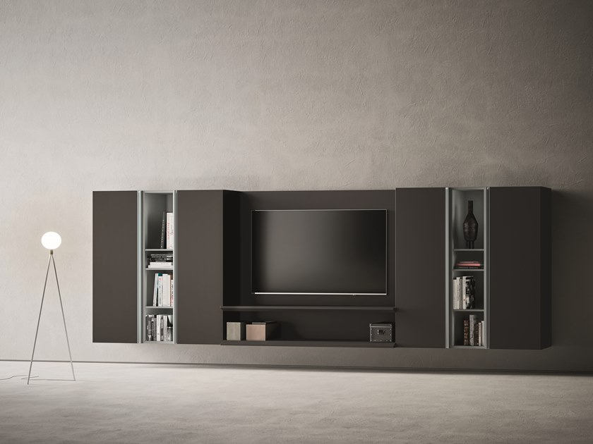 Sectional lacquered TV wall system DAY MOOVE | Composition M508 by ZANETTE