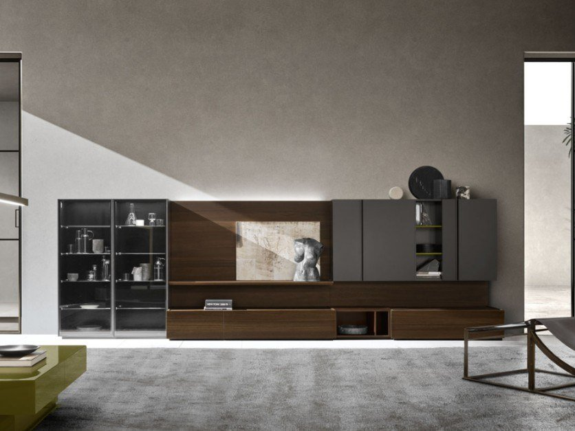 Lacquered oak TV wall system DAY MOOVE | Composition M102 by ZANETTE