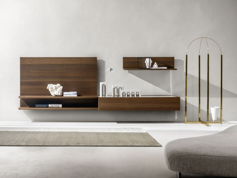 Wall-mounted lacquered oak storage wall DAY MOOVE | Composition M108 by ZANETTE