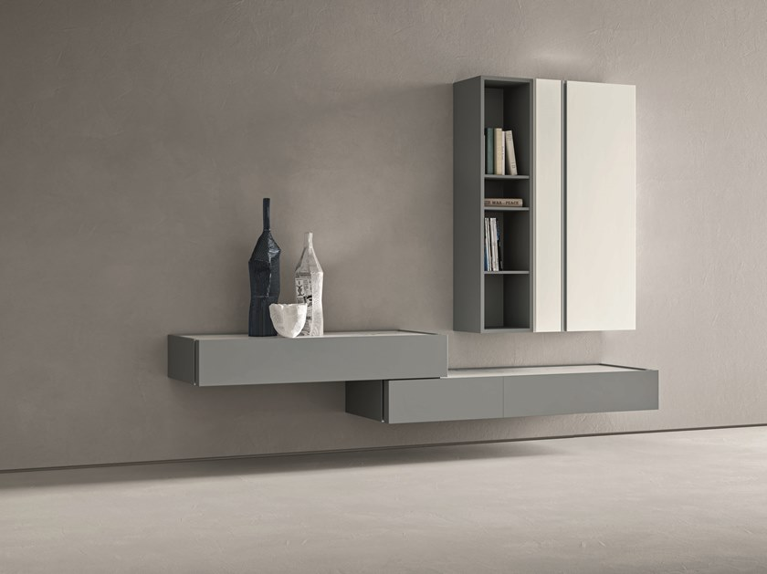 Sectional wall-mounted lacquered storage wall DAY MOOVE | Composition M502 by ZANETTE
