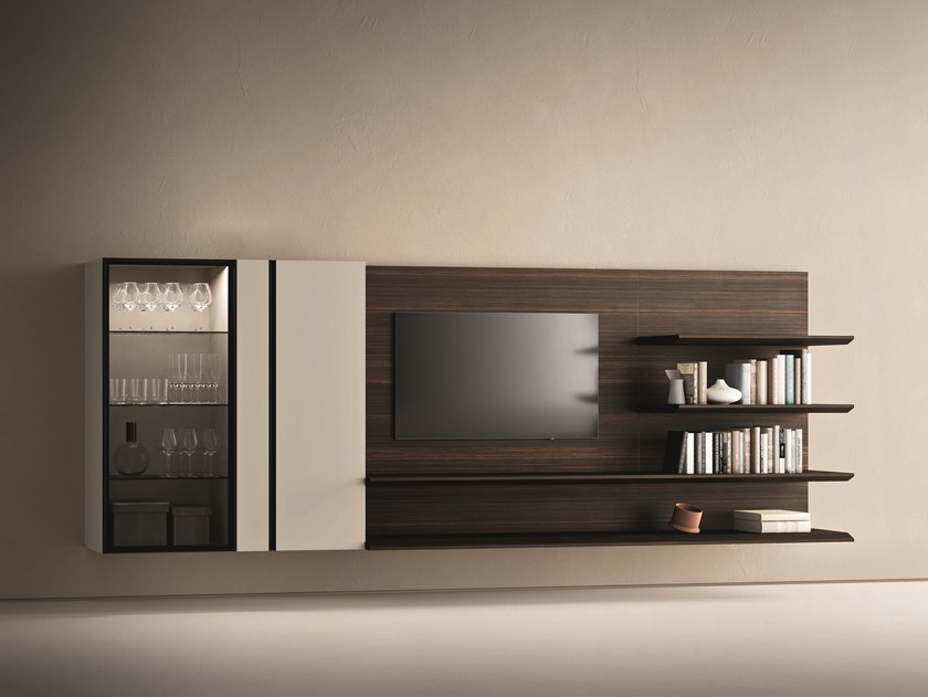 Sectional oak TV wall system DAY MOOVE | Composition M506 by ZANETTE