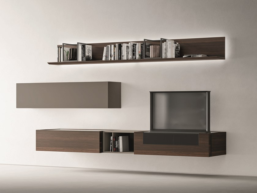 Sectional oak storage wall DAY MOOVE | Composition M507 by ZANETTE