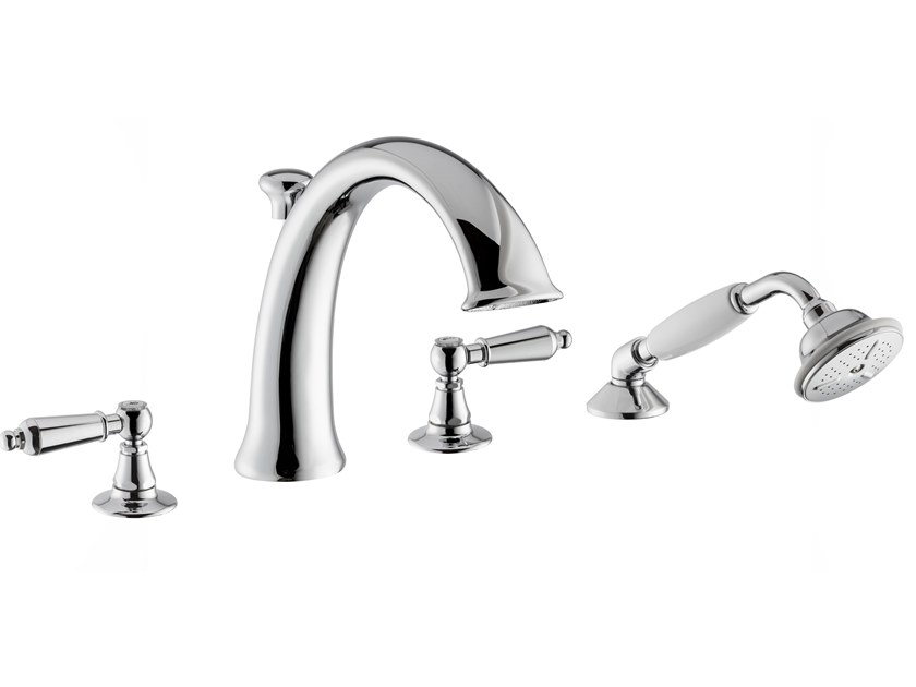 4 hole bathtub set with diverter with hand shower DAYTIME STYLE | 4 hole bathtub tap by newform