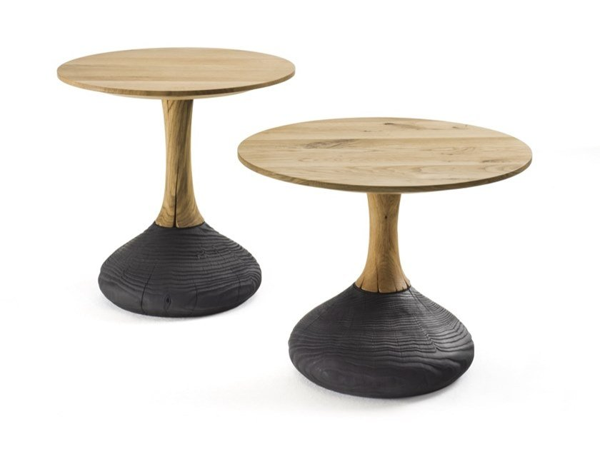 Round oak coffee table DECANT | Round coffee table by Riva 1920