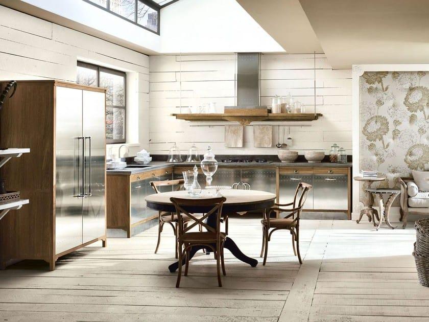 Cucina componibile in acciaio inox e legno DECHORA - COMPOSIZIONE 01 by Marchi Cucine