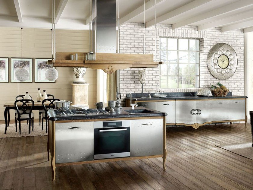 Fitted wood kitchen DECHORA - COMPOSITION 04 by Marchi Cucine