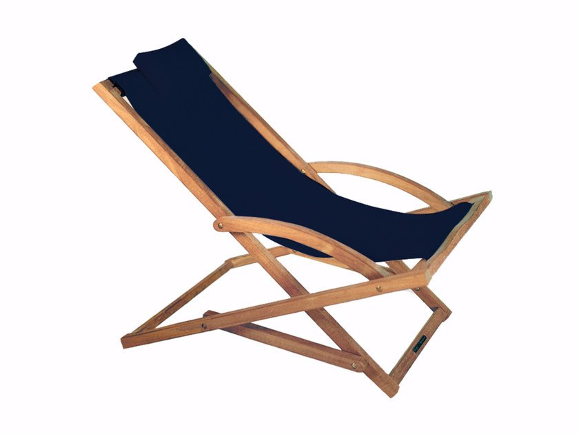 Folding fabric deck chair with armrests BEACHER | Deck chair by ROYAL BOTANIA