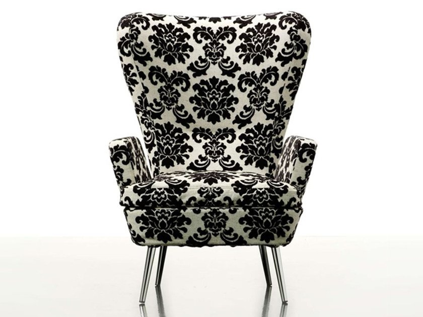 Wing fabric armchair DECO by ROSSIN