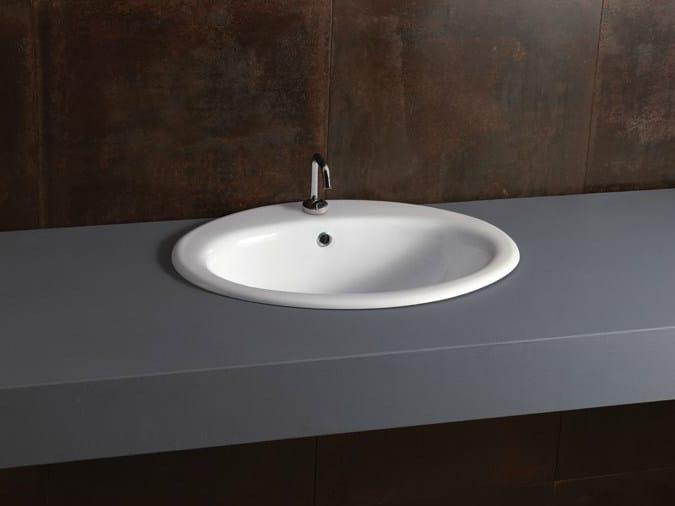 Inset oval ceramic washbasin DECOR 57 by Alice Ceramica