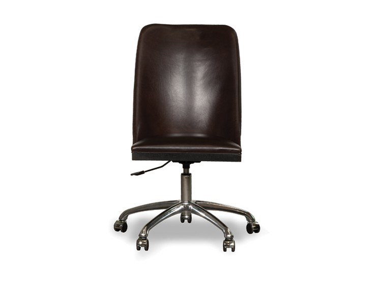 Swivel leather task chair with 5-Spoke base with castors DECOR   Task chair by BAXTER