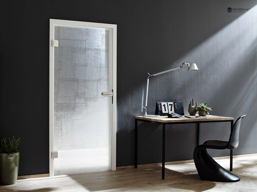 Decorated glass door DECORFLOU® DESIGN FABRIC by OmniDecor®