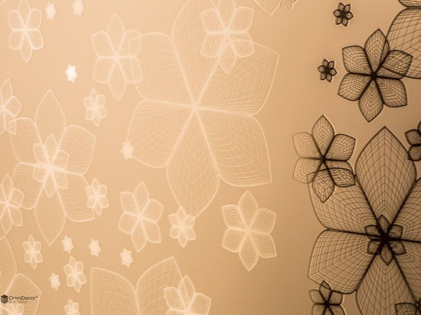 Decorated glass wall tiles DECORFLOU® DESIGN WIREFLOWERS by OmniDecor®