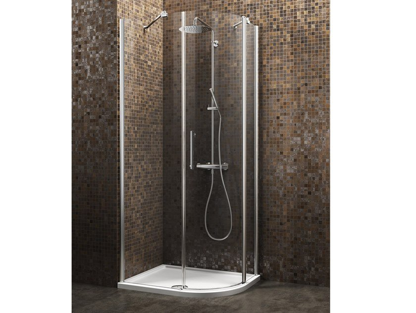 Semicircular shower cabin with hinged door DEDALO | Semicircular shower cabin by ARBLU