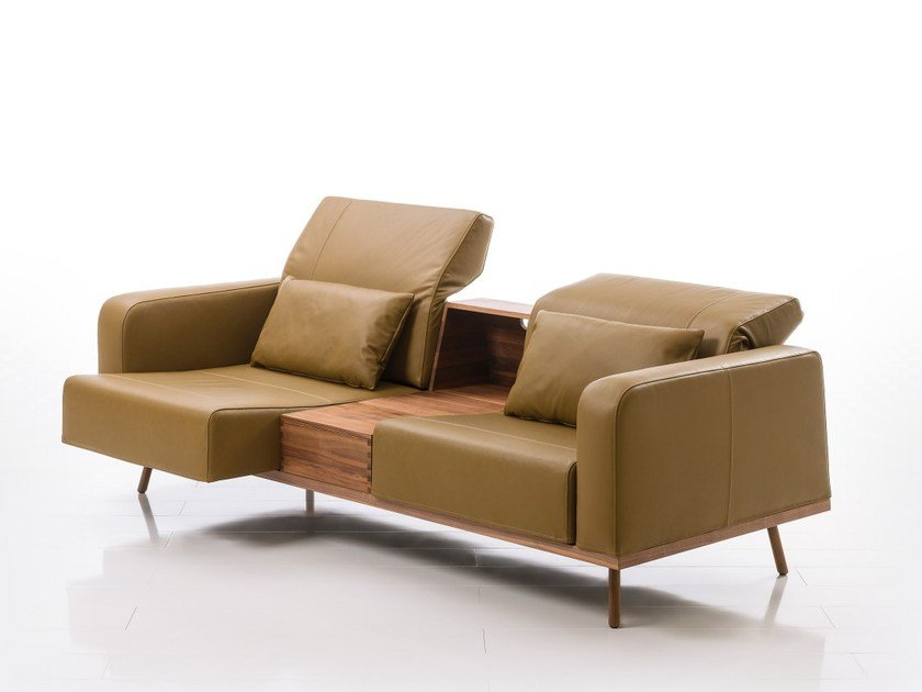2 seater leather sofa with integrated magazine rack DEEP SPACE | Leather sofa by brühl