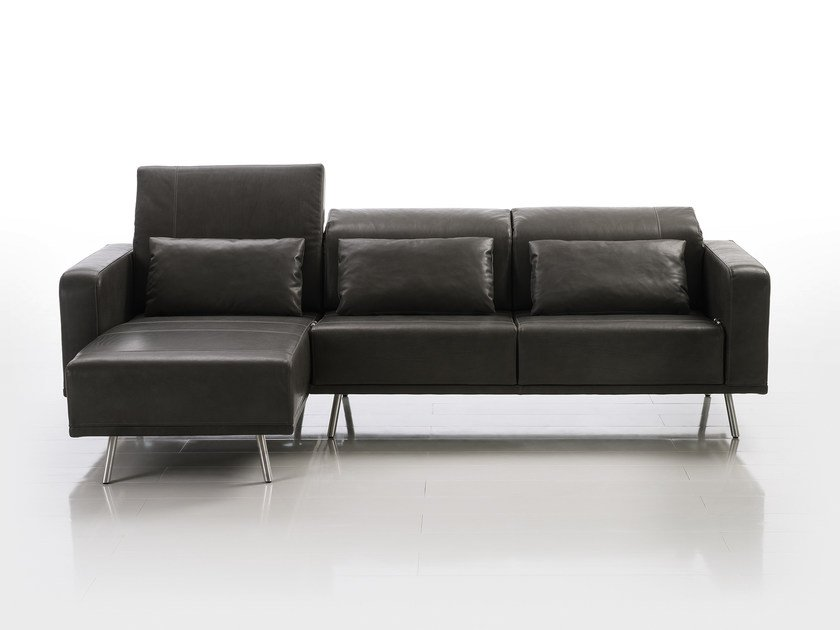 Leather sofa with chaise longue DEEP SPACE | Sofa with chaise longue by brühl