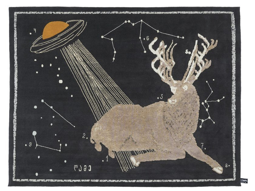 Handmade rectangular rug DEER AT NIGHT by cc-tapis