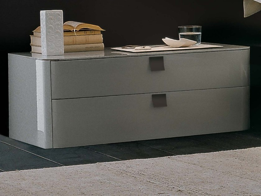 Lacquered wooden bedside table with drawers DEFILÉ | Lacquered bedside table by JESSE
