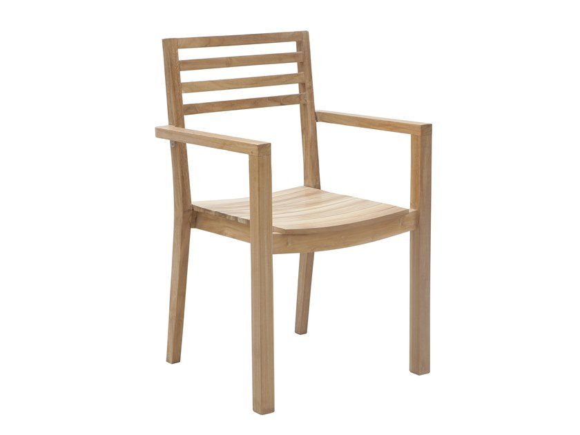 Garden chair with armrests DEHORS | Chair with armrests by Il Giardino di Legno