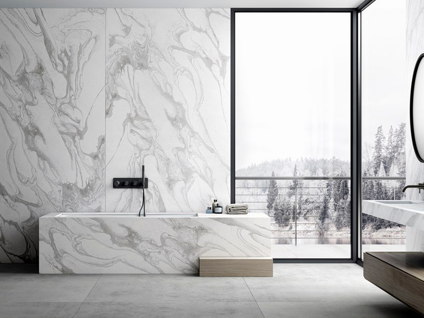 Furniture foil with marble effect DEKTON® LIQUID SKY by Cosentino