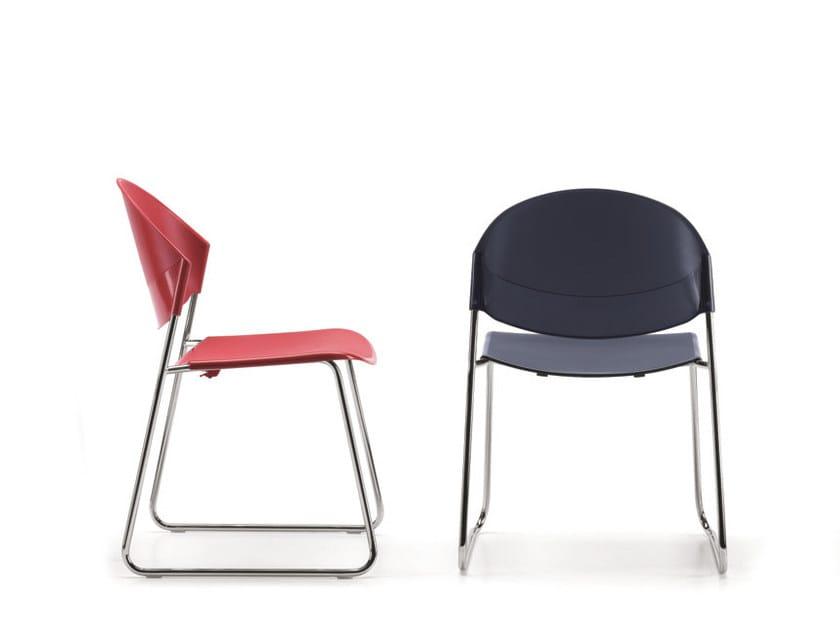 Sedia a slitta in polipropilene per sale d'attesa DELFI 080 | Sedia in polipropilene by TALIN