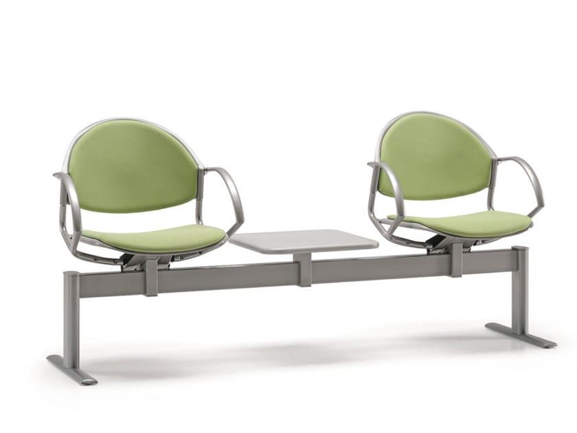 Seduta su barra a pavimento in tessuto con braccioli DELFI 086 B2T by TALIN