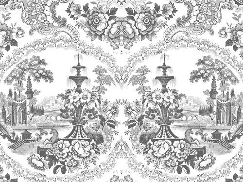 Motif wallpaper DELFT BAROQUE WALLPAPER - BLACK by Mineheart