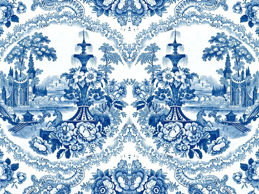 Motif wallpaper DELFT BAROQUE WALLPAPER - BLUE by Mineheart