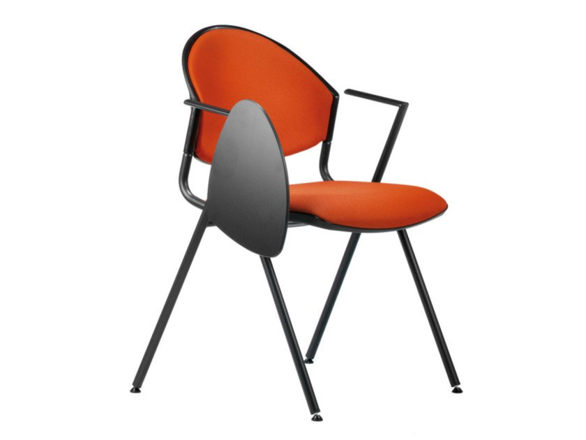Folding fabric training chair with armrests with writing tablet DELFI 089 STDX by TALIN