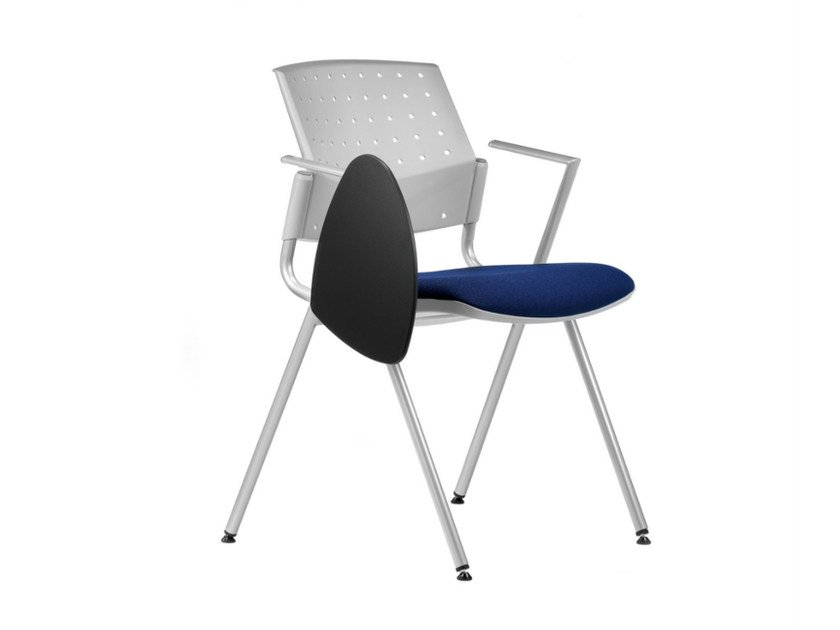 Stackable fabric training chair with armrests with writing tablet DELFI BRIO 065 TDX by TALIN