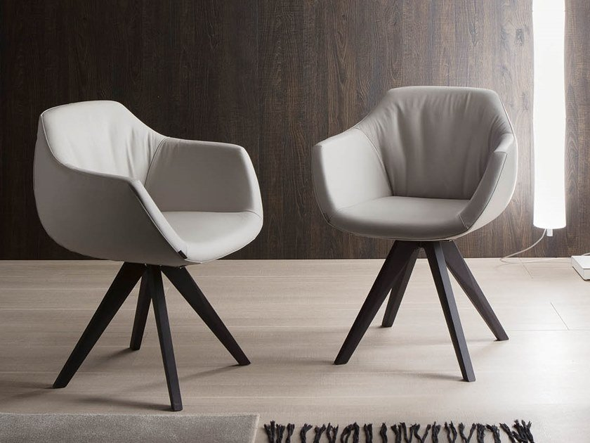Upholstered chair with armrests DELIA by Ozzio Italia