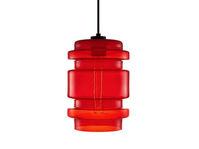 Direct light handmade blown glass pendant lamp DELINEA by Niche Modern
