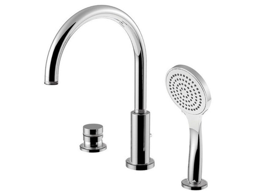 Deck mounted 3 hole bathtub tap with diverter DELUXE - MYRING - FMR0065BDDL by Rubinetteria Giulini