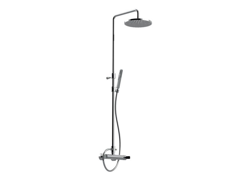 Single handle shower set with hand shower with overhead shower DELUXE - SURF - F5808SWC-SDL by Rubinetteria Giulini