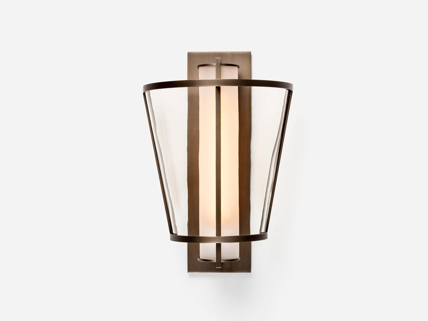 Direct light glass and steel wall light DEMI LU by Kevin Reilly Collection