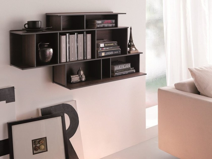 Floating MDF bookcase DEMIE | Floating bookcase by Ozzio Italia