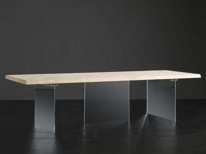 Rectangular wood and glass dining table DENVER + ICE by AltaCorte