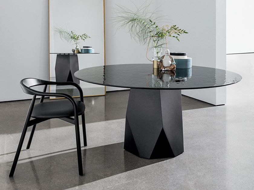 Round tempered glass table DEOD | Glass table by Sovet italia