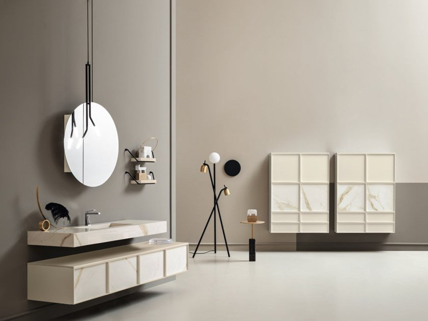 Wall-mounted vanity unit with drawers DES 12-13 by Cerasa