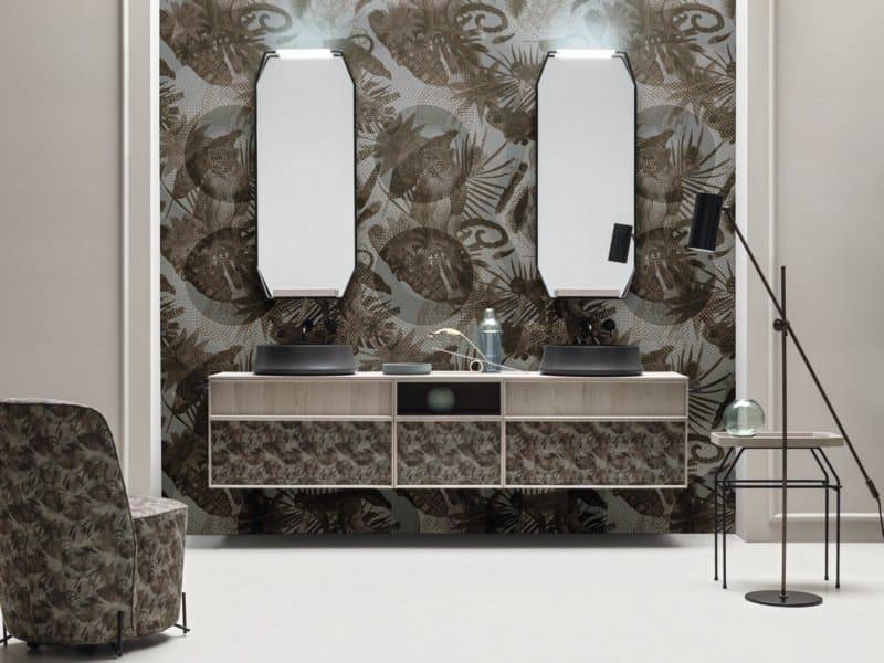 Mobile bagno componibile con doppio lavabo da appoggio des 95
