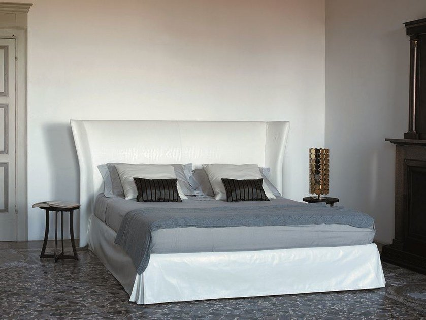 Leather double bed with upholstered headboard DESIRE by CIACCI