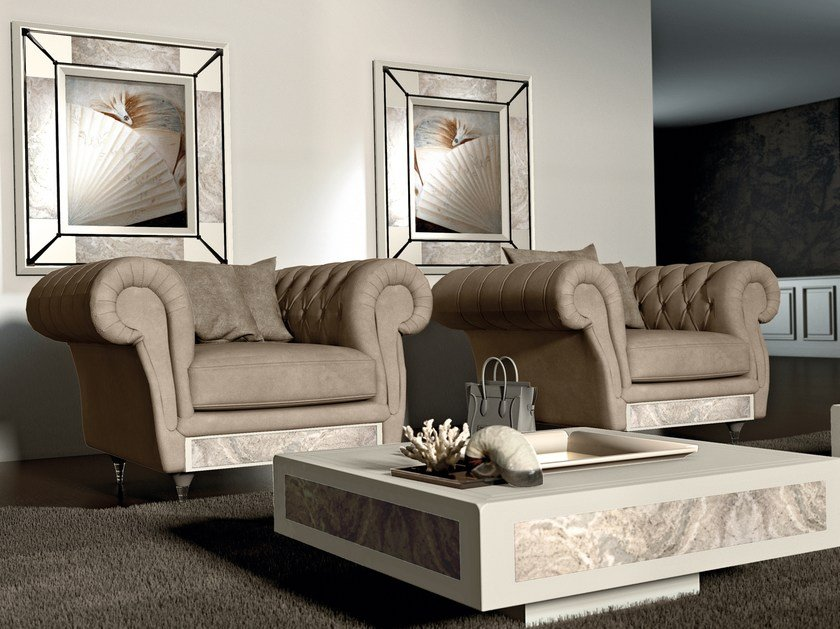 Chesterfield style tufted leather armchair with armrests DESIRE CHEST NOUVEAU   Armchair by Vismara Design
