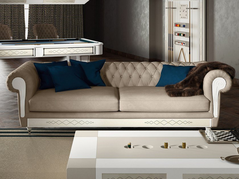 Chesterfield style tufted 3 seater leather sofa DESIRE CHEST NOUVEAU | Sofa by Vismara Design